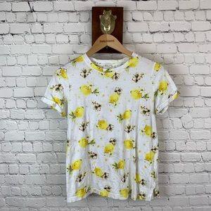 Meadow Rue Cuffed Sleeves Lemon T Shirt Top